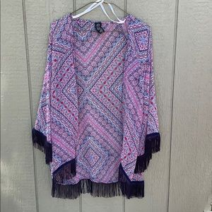 Jessica Simpson Multi Colored Fringed Kimono